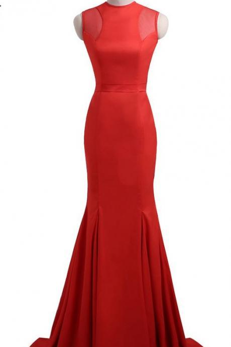 Simple beautiful prom dress,long mermaid evening dress,sexy red dress, formal party dress
