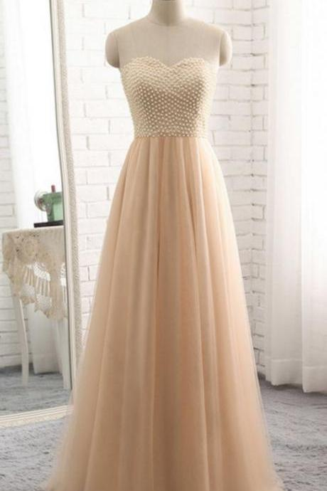 The most popular champagne prom gowns, formal evening dress, pearl blouse evening dress,floor length ball gown gown
