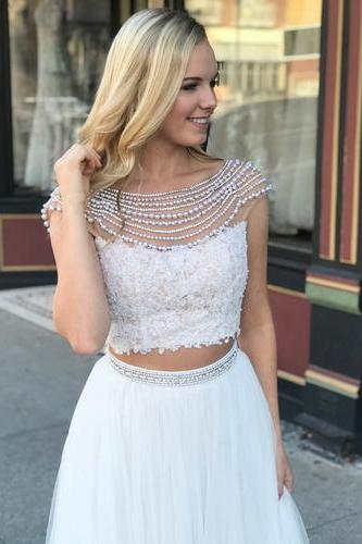 Two Piece Long Prom Dress, White Long Prom Dress