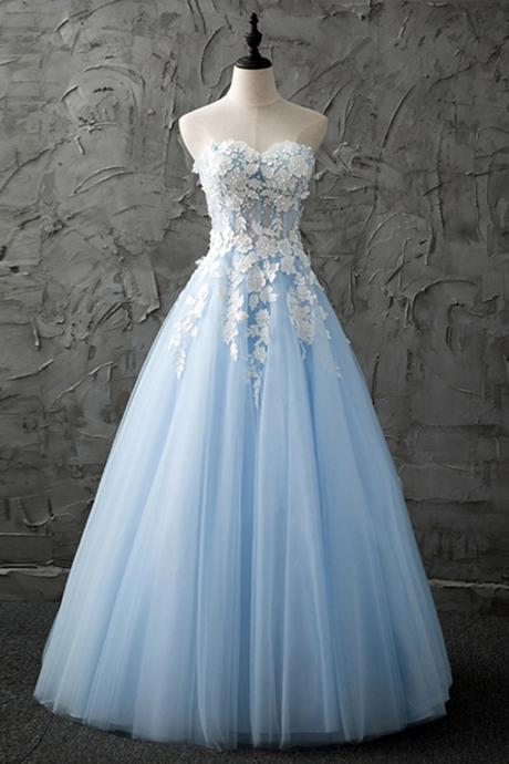 A-line Homecoming Dresses Sleeveless Jewel Asymmetrical Lace Discount Backless DressesSweetheart blue tulle long customized evening dress with appliques