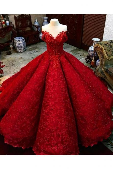Ball Gown Red Prom Dress With Beads Off the Shoulder Floor-Length Lace Quinceanera Dress Sweet 16 Dresses for Girls