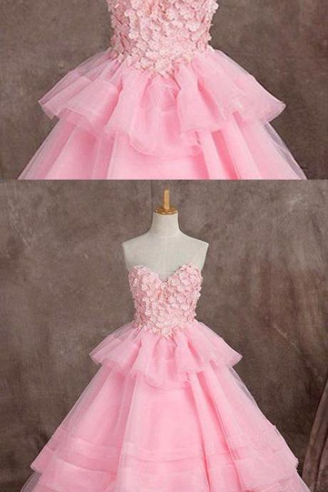 Pink tulle sweetheart long ball gown, long formal prom dress with appliqué