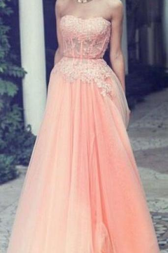 New Design Prom Dresses, Appliques Floor-Length Prom Dresses, Sweetheart Prom Dresses, Chiffon and Tulle Prom Dresses, Evening Dresses, Evening Dresses On Sale