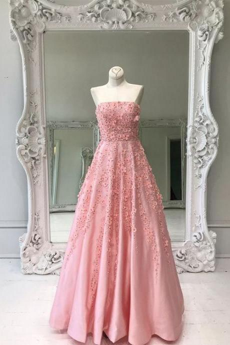 Pink Strapless Prom Dress,A-line Prom Dress,Princess Prom Dress, Appliques Prom Dress,Elegant Women Dress,Formal Party Dress,Custom Made Size