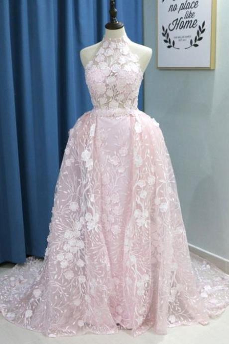 Pink organza strapless long lace evening dress with removable skirt