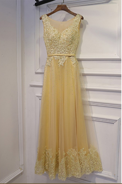 Long Champagne Sleeveless Prom Dress With Beaded Lace