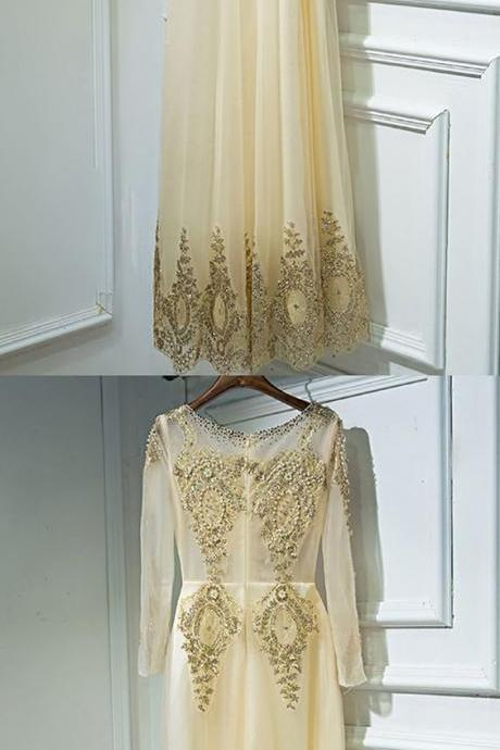 Luxury Long Gold Embroidery Prom Formal Dress With Long Sleeves