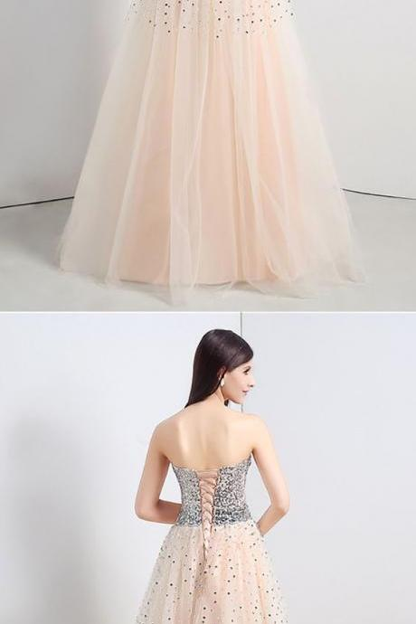 Strapless Long Bisque Prom Dress Corset Back With Shiny Sequins