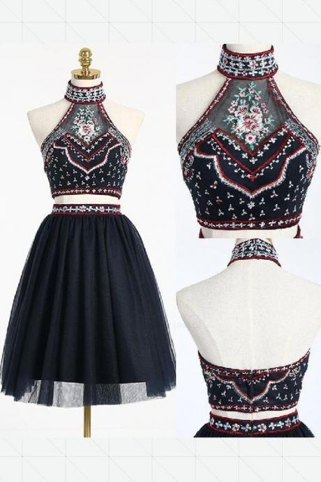 A-LINE, BLACK, TWO PIECE, HIGH NECK SHORT PROM DRESS, HOMECOMING DRESS