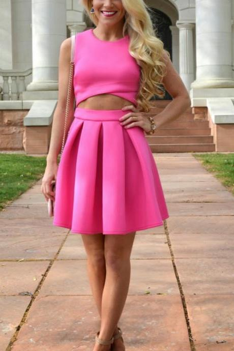 Two pieces Homecoming Dress, Homecoming Dress Pink, Short Homecoming Dress