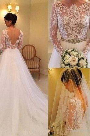 Gorgeous A-line White Long Sleeves Wedding Dress with Train