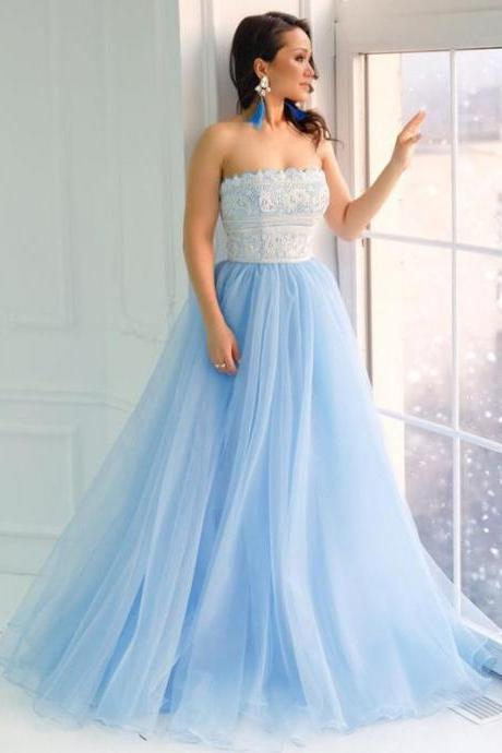 A Line V Neck Open Back Wedding Dresses,Chiffon Ivory Lace Long Lace up Bridal Dresses with Appliques,Spaghetti Straps Long Wedding Dress,Wedding Dresses Strapless Lace Light Blue A-line Cheap Evening Prom Dresses, Sweet Dresses