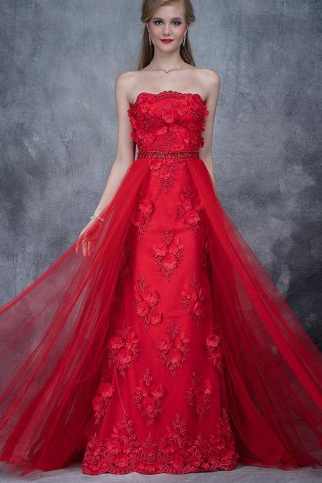 Showy Tulle Strapless Neckline A-line Prom Dress With Lace Appliques & Handmade Flowers With Beadings