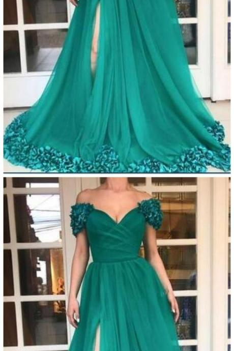 High Split Long Prom Dresses Custom Plus Size Hunter Green Tulle A Line Off Shoulder 3D Flowers African 2K18 Evening Gowns Cheap