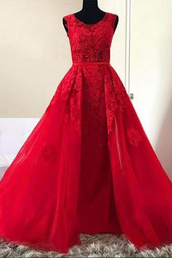 Red tulle O neck long lace A-line halter senior prom dress, red evening dress