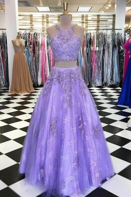 Two Piece Round Neck Lavender Lace Prom Dress with Appliques Beading