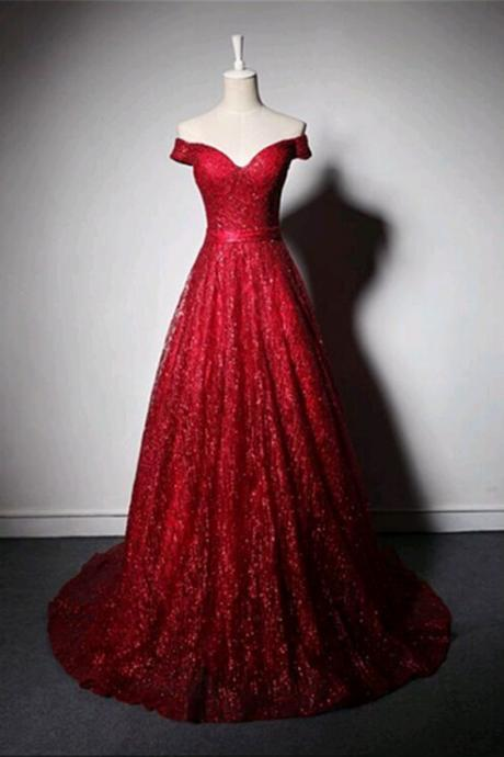 Shinning burgundy tulle off shoulder customize long evening dress, sequins long prom dress
