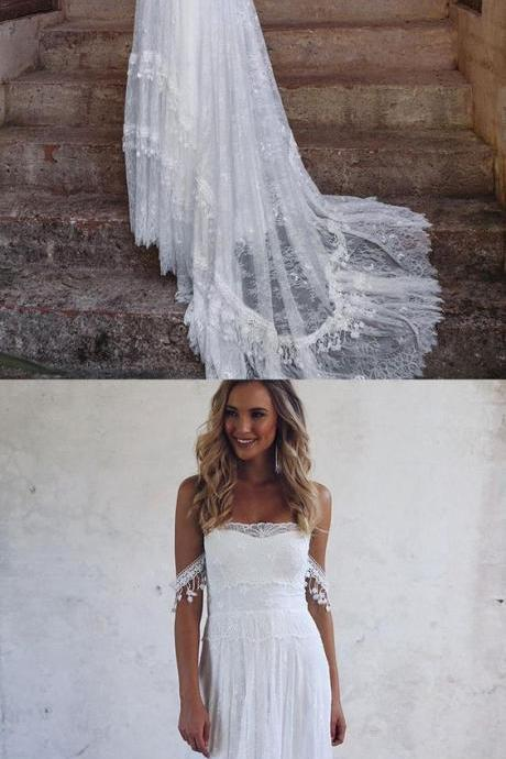 A-Line Off-the-Shoulder Lace Beach Wedding Dress with Appliques