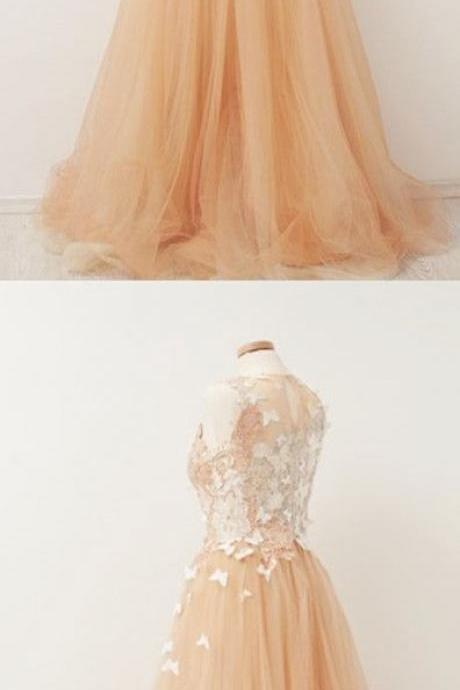 Unique Handmade Floor Length Prom Dress,Appliques Evening Dress,Sleeveless Tulle Party Dress