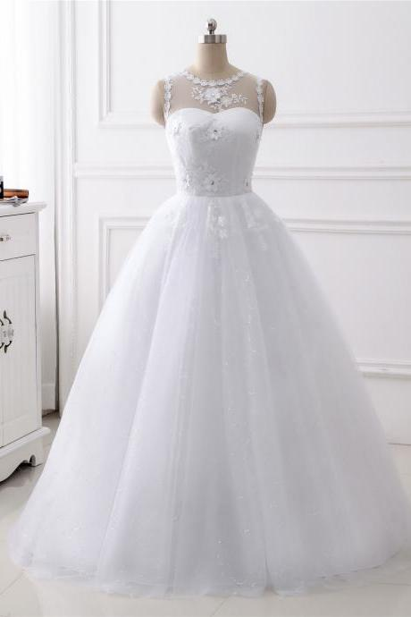 A-line 3D Flower Applique wedding dress ,scoop neck wedding dress , Luxury beading sleeveless wedding dress,floor length bridal dress