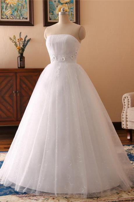 A-line 3D flower lace Applique wedding dress ,sexy sweetheart neck wedding dress , Luxury beading sleeveless wedding dress,diamond floor length bridal dress
