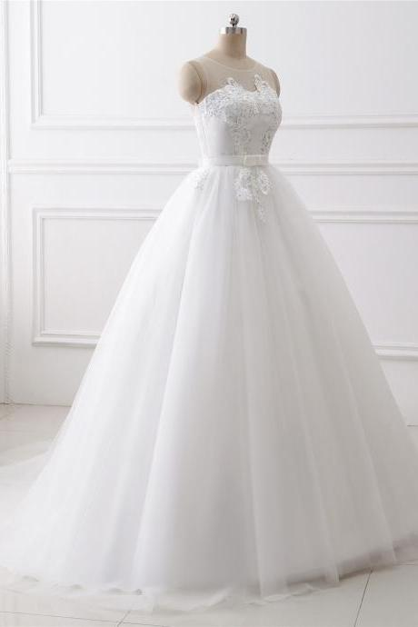 A-line lace Applique wedding dress ,sexy o neck wedding dress with bow knot , Luxury simple sleeveless wedding dress, floor length bridal dress, sweep train wedding dress
