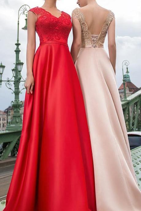 Beautiful Satin ,V-neck Neckline ,Cap Sleeves ,A-line Prom Dress, Lace Appliques & Sash