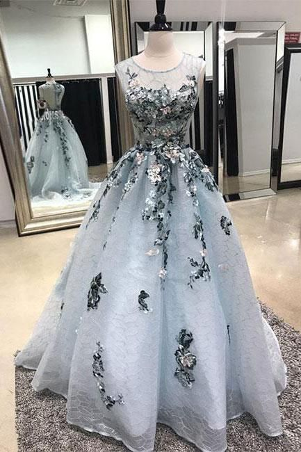 Gray tulle lace, lace applique evening dress,Tulle Prom Dresses,Long Prom Dresses,Cheap Prom Dresses,Lace Evening Dress ,Sleeveless Prom Gowns