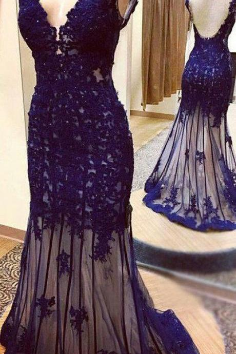 Deep blue, tulle, V-neck, mermaid, beading, full-length, evening dresses, prom dress