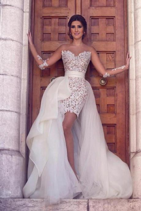 Luxurious A-Line, Sweetheart White Tull ,Lace High Low Prom/Evening Dress