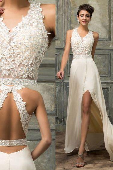 White Prom Dresses , Long Ivory ,Backless Evening Dress, Lace Applique Beading, Chiffon Split Party Dress