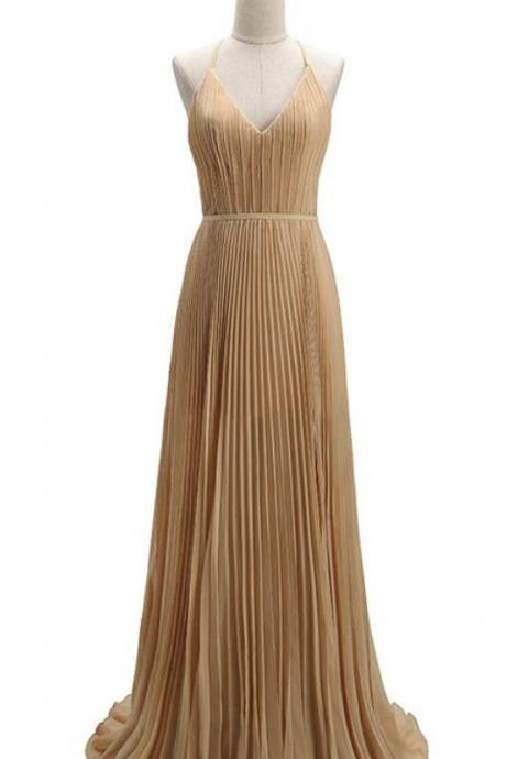 Simple Chiffon ,Deep V-neck, Long Wedding Dresses,Champagne party dresses