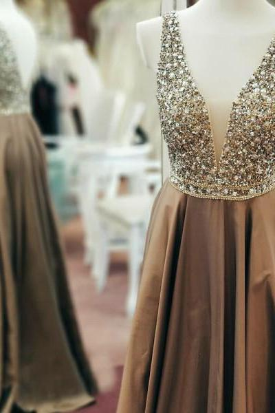 A-Line V-Neck Backless, Floor-Length, Brown Satin Prom Dress with Beading