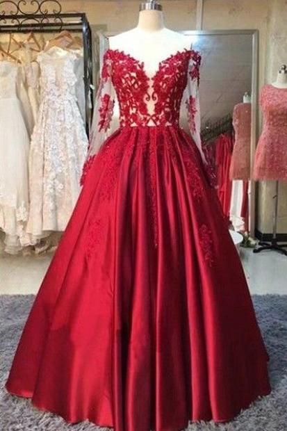 Long-Sleeves ,Off-the-Shoulder, Red Lace-Appliques ,Puffy Prom Dresses