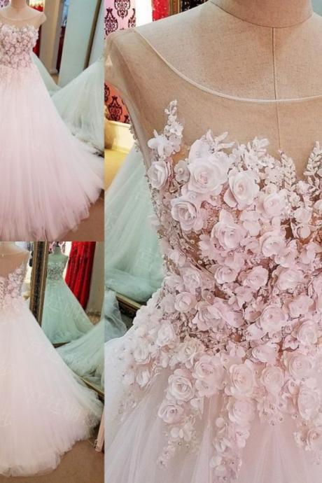 Ball Gown Cap Sleeves, Luxury Flowers Lace Up Wedding Dress,Prom Dresses, Prom Dresses Cheap, Prom Dresses Pink, Prom Dresses Ball Gown , 3D Flower Applique Prom Dresses