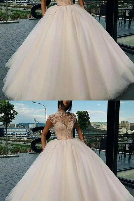 Ball Gown High Neck Sweep Train Champagne Tulle Prom Dress with Beading Appliques