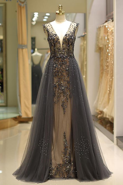 Modest Tulle V-neck Neckline Floor-length A-Line Evening Dress With Beadings,Prom Dress