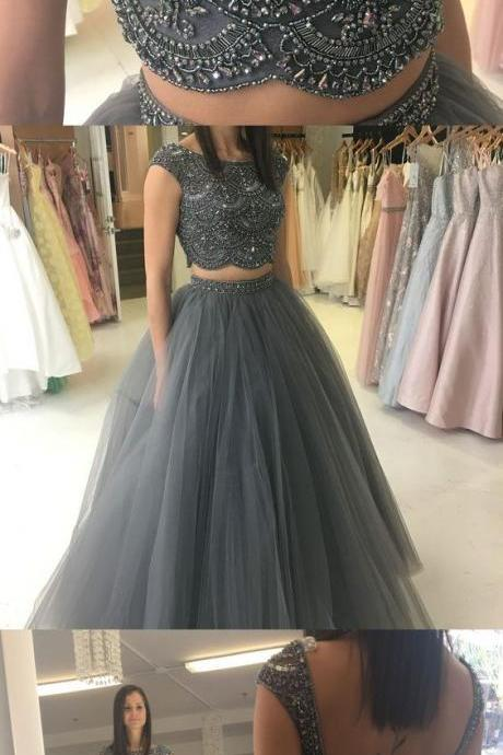 ball gown, two piece prom dresses, beaded grey long prom dresses, party dresses, sweet 16 dresses