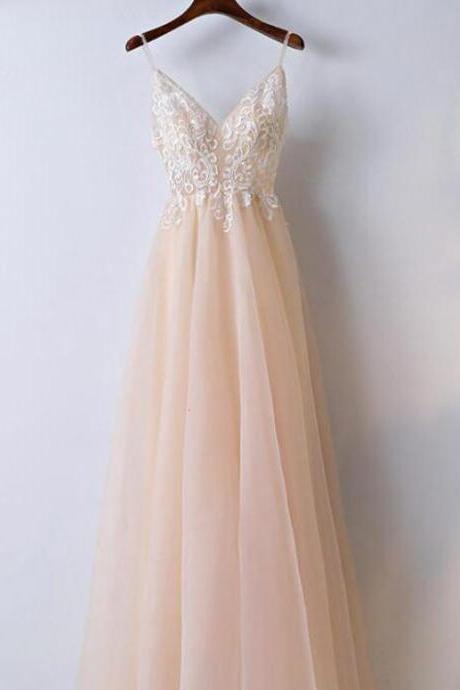 A-Line Prom Dresses, spaghetti Prom Dresses,lace party dress v-neck evenging dresses