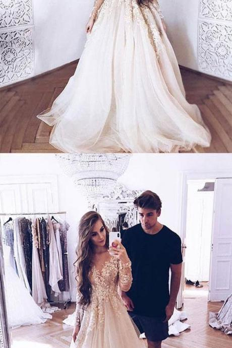 White tulle party dress lace long prom dress, long sleeve evening wedding dress