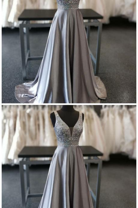 A-Line evening dress V-Neck party dress Sweep Train Grey Beaded Prom Dress