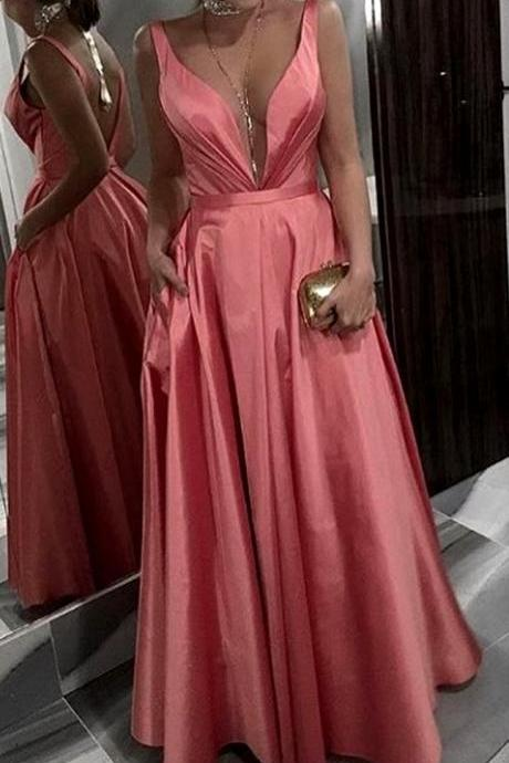 Deep V Neck party dress Taffeta Long Prom Dress Coral Formal pink Evening Gown