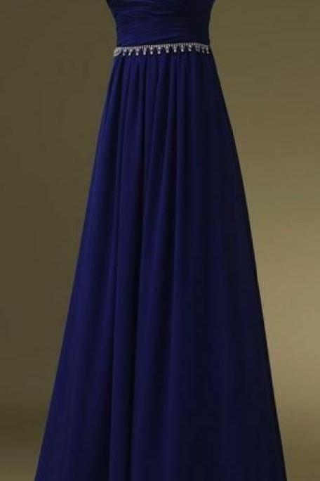 Royal Blue Prom Dresses,Sweetheart Evening Gowns,Simple Formal Dresses,Beaded Prom Dresses,Long Evening Gown,Modest Evening Dress,Chiffon Prom Dresses
