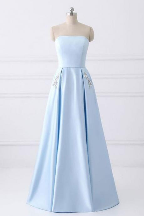Fashion strapless light blue satin beaded long prom dress for teens,simple party dress