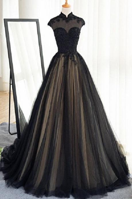 Black tulle cap sleeves floor-length long prom dresses,luxury dresses from Sweetheart Dress