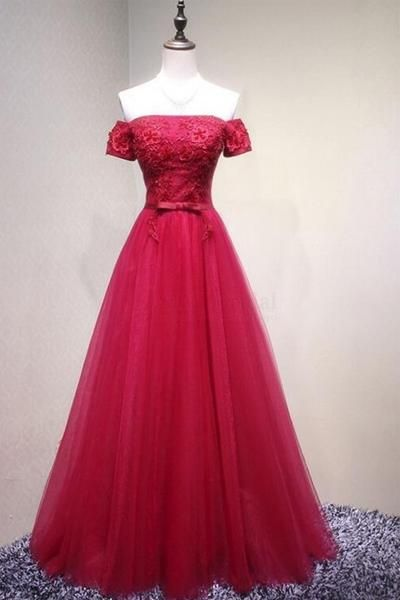 Red evening dresses,Off Shoulder Long Tulle Prom Dresses with Knot