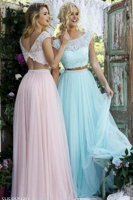 A-Line/ prom dress Princess evening dress Short Sleeves party dress Bateau Beading prom dress Floor-Length Tulle Dresses,