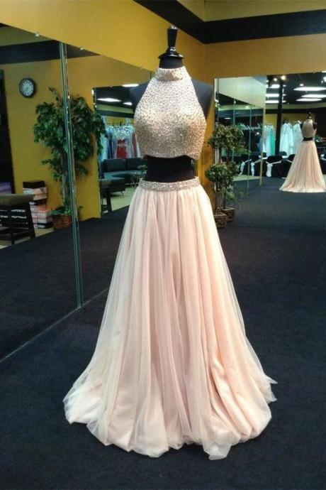 Halter neck party dresses,Two Piece prom dress Beaded evening dress Long Prom Dresses pink prom dress