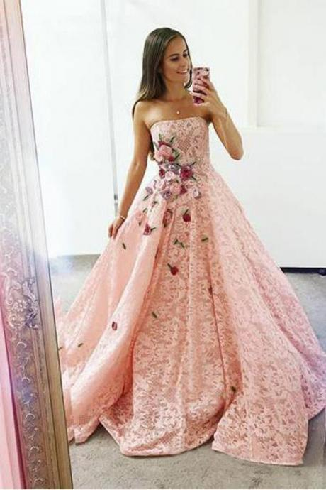 Strapless evening dress Pink party dress Lace Long Ball Gown with Floral Embroidery Cheap Prom Dresses
