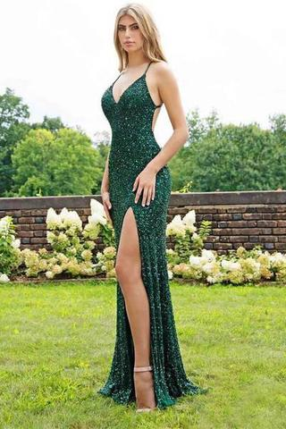 Spaghetti Strap party dress Emerald Green Prom Dresses Slit Sheath Sequined Formal Evening Dress